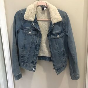 Vintage vibe fleece lined denim jacket